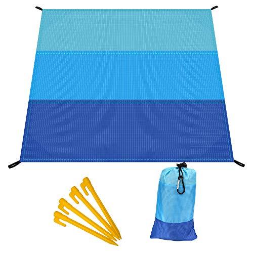 Hospaop Picknickdecke, Sandfreie Stranddecke, 210 x 200 cm mit Tasche und 4 Befestigung Ecken, Ultraleicht Kompakt Sandabweisend Strandmatte Outdoor Campingdecke für Reisen Wandern Camping
