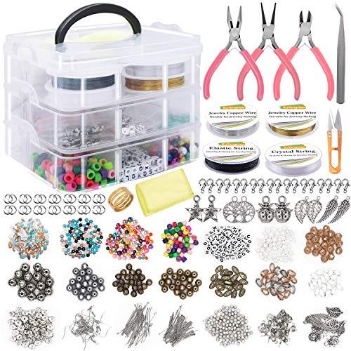EuTengHao - Kit de suministros de joyería que incluye varios abalorios, abalorios de joyería, perlas, cuentas espaciadoras, pinzas de alambre para collar, pendientes, hacer...