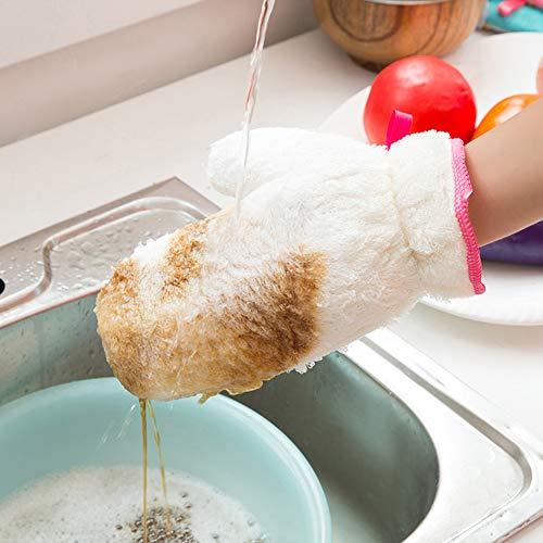 CYYMY 2Pcs Gants en Fibre de Bambou de étanche Ménage Réutilisables pour Laver Les Légumes Laver Vaisselle Balayer Ménage Nettoyage des Vitres