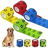 otutun Vendaje Autoadhesivo para Mascotas, 8 Piezas Cinta Adhesiva para Heridas para Perros Vendaje, Rollos de Gasa cohesiva no Tejida para Perros, para Mascotas Venda De Fijación Flexible y Elástica