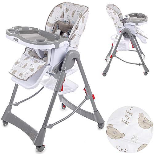 Kindersafety Kinderhochstuhl Babyhochstuhl Babystuhl Kinderstuhl - Hochstuhl Baby (model KP0014) Höhenverstellbar mit abnehmbarem Essbrett ab 6 Monate bis 5 Jahre leichte Konstruktion Grau