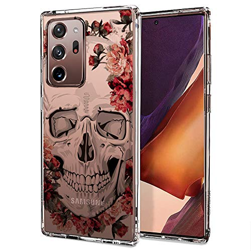 Case for Galaxy Note 20 Ultra,MOSNOVO Shockproof TPU Bumper Slim Clear Case with Cute Design for Samsung Galaxy Note 20 Ultra 5G Phone Case Cover - Flower Skull
