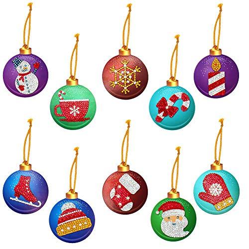 Colgantes de árboles de Navidad,20 piezas de Navidad 5D Pintura de diamantes Tarjeta de etiquetas de bricolaje Adornos de Navidad Pintura de la etiqueta Decoraciones decoración del árbol de Navidad