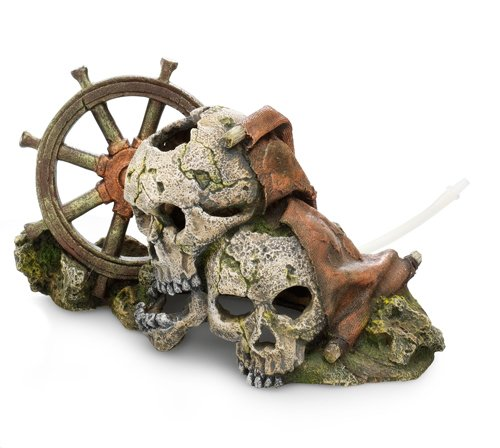 Europet Bernina 234-415931 Dekoration Skulls und Wheel, 24 x 13.5 x 13 cm mit Ausströmer