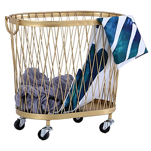 LiPengTaoShop Rolling Laundry Cesta Metal Lavandería Herfal Almacenamiento Oval Almacenamiento Cesta De...