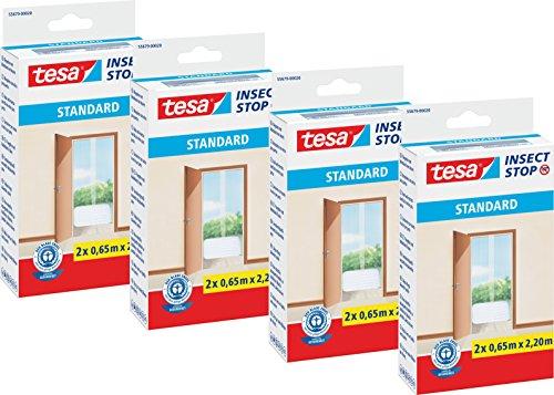 tesa vliegenhor voor deuren standaard, antraciet, transparant, 2 x 0,65 m x 2,2 m, Einzeln, Weiß - 4er Pack, 1