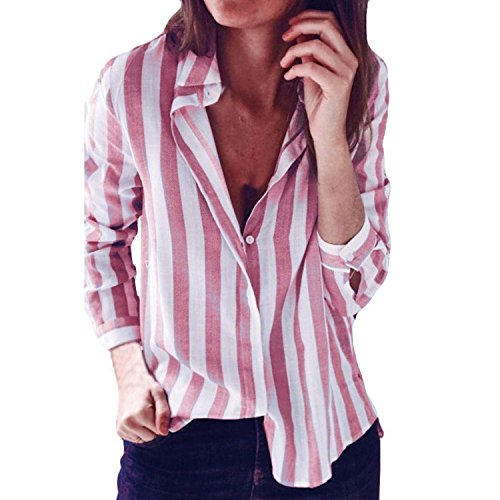 Button Down Blouse Boyfriend Style Solid/Print Tops Office/Casual Loose T Shirt