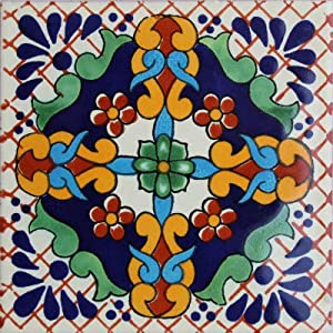 Fine Crafts Imports 6x6 4 pcs Macotera Talavera Mexican Tile