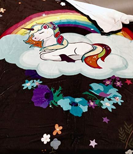 Ruby's Linda Manta de Unicornio para niñas y niños – Manta de Felpa Suave con Flores para niños, Adultos, Cama, sofá, Viajes, Camping, Vacaciones (50' x 60')