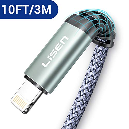 (10ft / 3m) LISEN Lightning to USB-A Cable, [Apple MFi Certified] 10 Foot Long iPhone Charger, Durable Nylon Braided Fast Charging Cord Compatible with iPhone 11/Pro/X/Xs Max/XR/8 Plus /7 Plus/6/ iPad