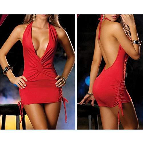 Bebliss Frauen Sexy Kleid Zurück Aushöhlen Tiefem V-ausschnitt Gebündeltes Outfit Exotische Dessous Ärmellose Pole Dance Kurzes Kleid Für Valentinstag