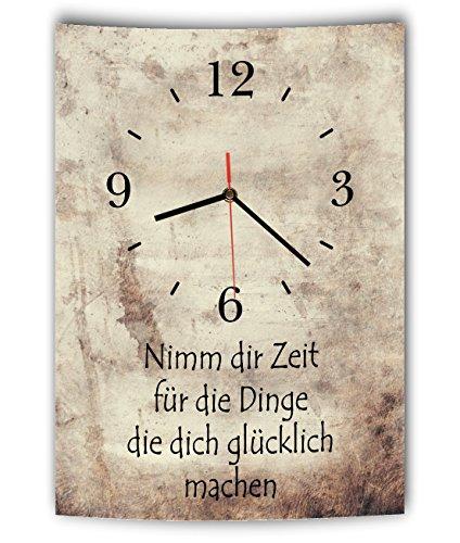 LAUTLOSE Designer Wanduhr mit Spruch Nimm dir Zeit für die Dinge die dich glücklich machen Vintage beige Deko Schild Bild 41 x 28cm