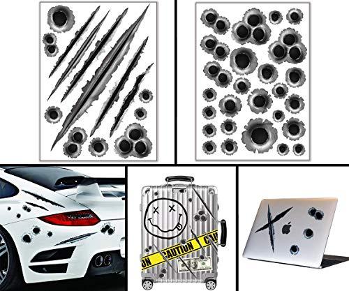 Devlop Aufkleber Pack , 2-seitige Aufkleber (Einschussloch) für Laptop, Kinder, Autos, Motorrad, Fahrrad, Skateboardgepäck, Stoßstange, wasserdicht