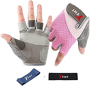 YHT Mens Gym Weight Lifting Half Fingerless Gloves