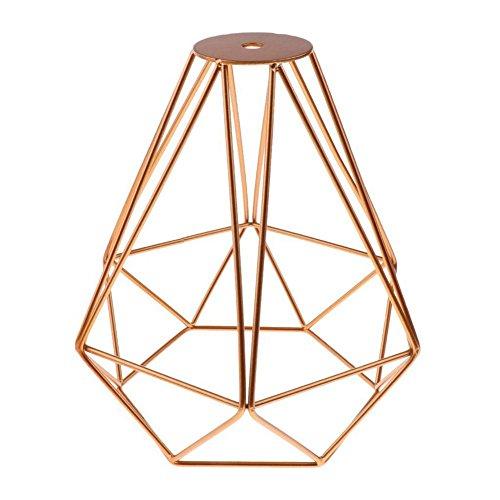 Ctzrzyt Caja de lampara luz de techo pendiente de forma de diamante de metal vintage Decoracion pantalla de lampara - Dorado