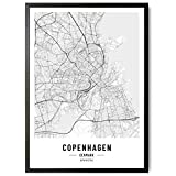 JUNOMI® Kopenhagen Poster XL, DIN A2 Wohnzimmer Deko,