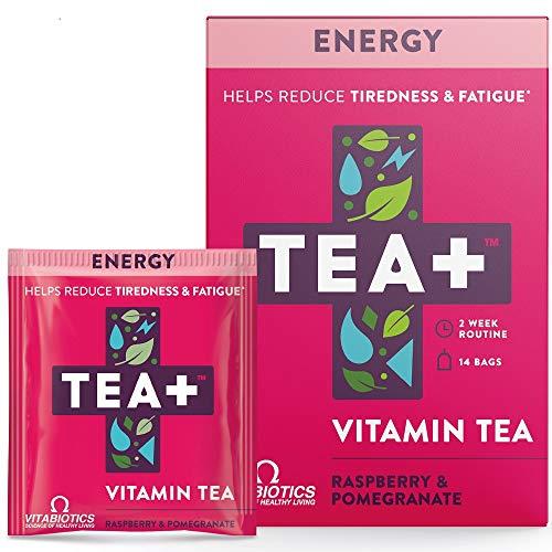 TEA+ (Tea Plus) - Energy - Vitamin-Tee, grüne Kräuterteebeutel mit B12 B6 Ergänzung, Fruchtgeschmack (Himbeere/Granatapfel) - 2 x 14 Tage Versorgung