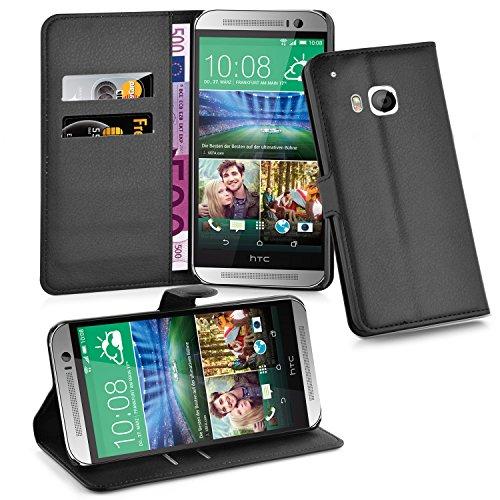Cadorabo Hülle für HTC ONE M9 (3. Gen.) - Hülle in Phantom SCHWARZ – Handyhülle mit Kartenfach und Standfunktion - Case Cover Schutzhülle Etui Tasche Book Klapp Style