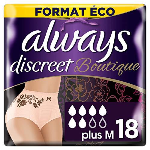 Always Discreet Boutique, Culottes pour incontinence / fuites urinaires, Taille M, 6 gouttes, Format éco x18 (2 packs de 9 unités) (plusieurs couleurs disponibles)