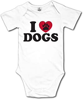Ghhpws I Love Dogs Baby's Unisex Short Sleeve Comfortable Infant Snapsuit White