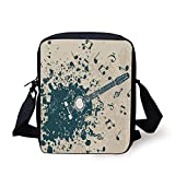 FAFANIQ Modern,Acoustic Guitar on Retro Murky Background with Music Notes Melody Illustration,Beige Dark Blue Print Kids Crossbody Messenger Bag Purse