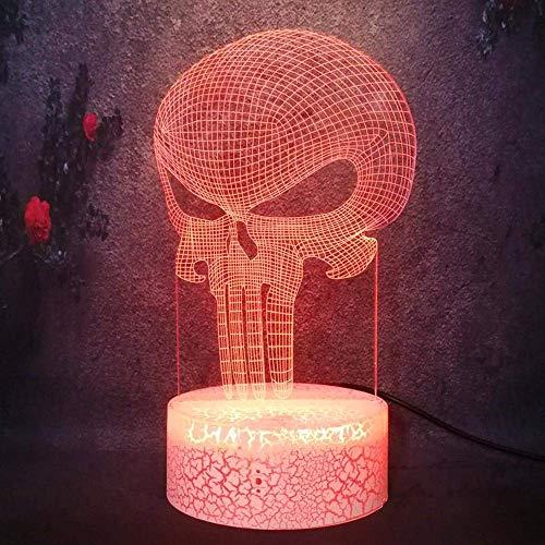Lámpara de ilusión 3D LED luz de la noche el castigador cráneo modelo decoración 7 color Marvel héroe cómic película flash creativo bombilla lava juguete