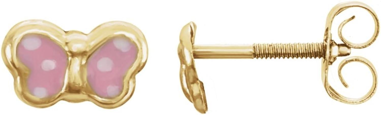 14K Yellow Pink Enamel Butterfly Earrings in 14k Yellow gold