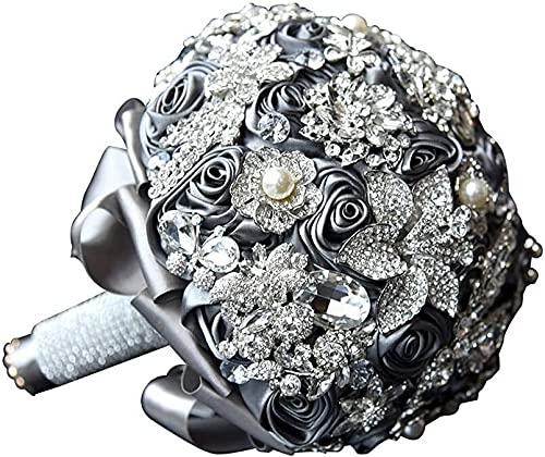 Sgxiyue Ramo de Bodas de Cristal clásico Gris Cinta de Seda Rosa Broche de Broche Boda buquets Nupciales