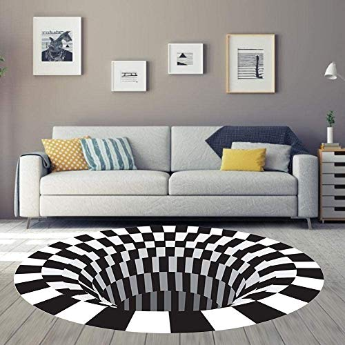 no brands 3D Black White Plaid Round Rugs Anti-Skid Non-woven Doormat 3D Visual Vortex Floor Rug Carpet For Home Bedroom Living Dining Room WHITE 120 * 120CM
