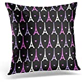 jonycm Funda De Almohada Pink Paris Girly Eiffel Tower Pattern En Purple Cute Patterns Design Throw Pillow Covers Hidden Zipper Chair Sofa Square Polyester Home Pillowcase Decorative Gift