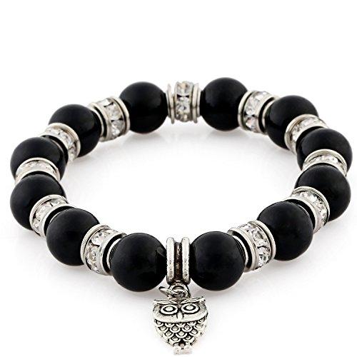 Morella Women's Bracelet Elastic with Owl Pendant and Stone Beads Black