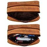 Rustic Town kulturtasche kulturbeutel Leder | Leather Toiletry Bag wash Bag | Leder Kosmetiktasche Waschtasche Reise-Tasche für Herren und Damen (Braun) - 4