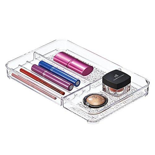 iDesign rangement maquillage, système de rangement plat pour tiroirs en plastique, idéal comme rangement make up dans la salle de bain, transparent