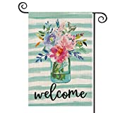 AVOIN Welcome Watercolor Stripes Vase Flower Garden Flag Vertical Double Sized, Spring Summer Floral Holiday Party Yard Outdoor Decoration 12.5 x 18 Inch