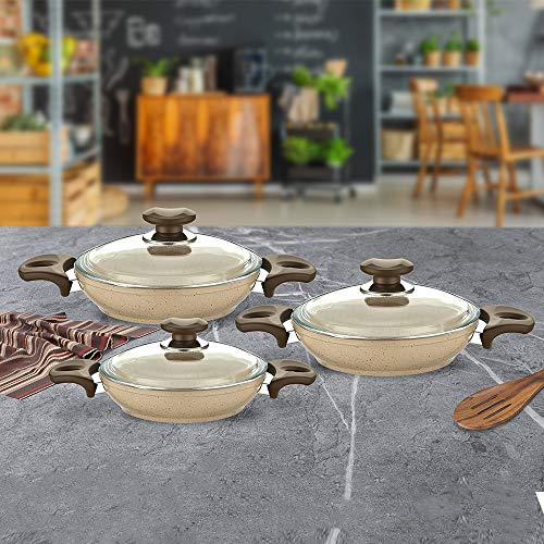 Compatible con todos los hornos, apto para lavavajillas, utensilios de cocina de granito y hierro fundido (6 piezas, beige).