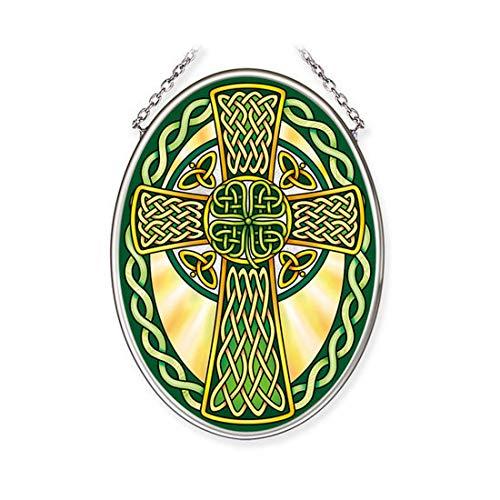Amia Historic Celtic Cross Small Oval Glass Suncatcher, Multicolored