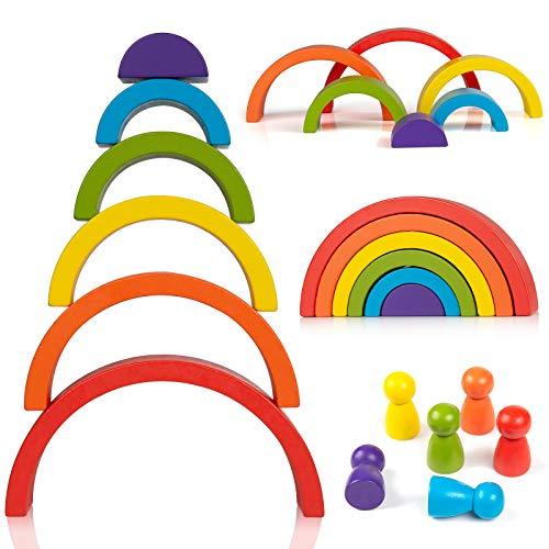 ZWOOS Bloques de Madera Arcoíris 6Pcs Arco Iris Madera y 6pcs Gente Pequeña Diseño de Arco Apilador de Arco Iris de Madera Geometría Bloques de Construcción para Niños Niño Niña