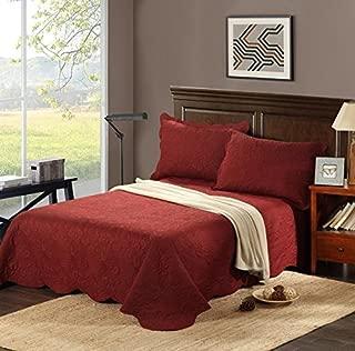 Tache 2-3 Piece Burgundy Red Floral Autumn Evening Bedspread Coverlet Quilt Set, Queen