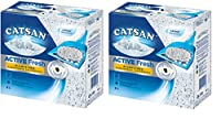 Catsan. Absorbs and before smell. Catsan active fresh made out of white natural clay and black activated carbon pellets for maximum odour protection. Liquid and odours werden with ultra-small, firm clumps included