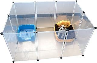 TEHAUX 10 Pieces Pet Dog Transparent Fence Pet Dog Cat Rabbit Folding Portative Pet Cage Small Pet Travel Cage Habitat Cag...