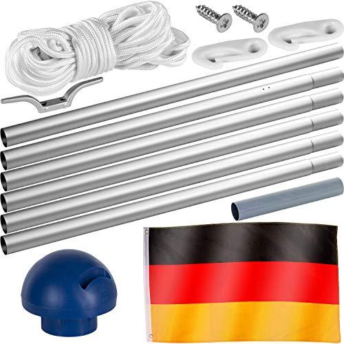 FLAGMASTER® Aluminium Fahnenmast 6,50 m, inkl. Deutschland Fahne + Bodenhülse + Zugseil, 3 Jahre Garantie - 2