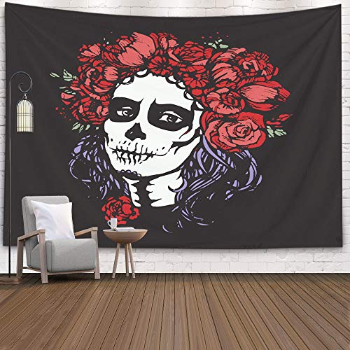 Jesmacti Dorm Tapestry, 80X60 Inch Wall Tapestry Dormitory Rrenovation Santa Muerte Woman Make up Sugar Skull Girl Bedside Camping Adventure Decorative Cloth Hanging Art Tapestry,Silver Gray