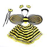 Luoem Bienenkostüm für Mädchen 3-8 Jahre Flügel Zauberstab Haarreif Feenrock 4 Teile