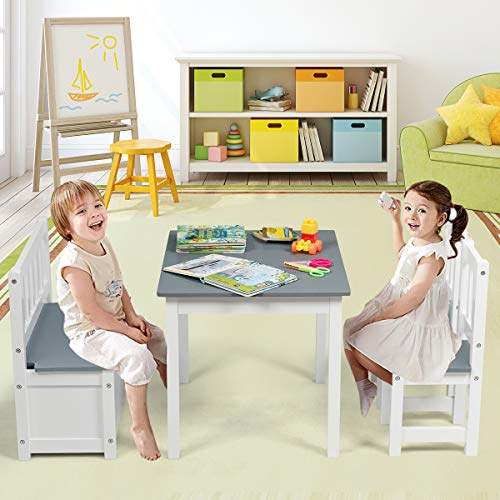Costzon Kids Table and Chair Set, Wood Activity Table with Toy Storage Bench & 2 Chairs for Children Reading, Arts, Crafts, Snack Time, Homework, Playroom, Toddler Table and Chair Set (Grey)