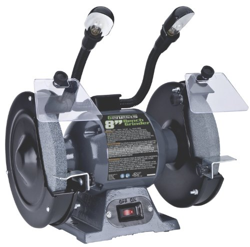 "Genesis GBG800L 8"" Bench Grinder with Dual, Flexible Lights and Eye Shield"