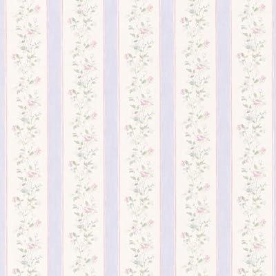 Brewster Emma Floral Stripe Wallpaper