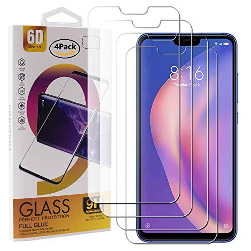 Guran 4 Paquete Cristal Templado Protector de Pantalla para Xiaomi Mi 8 Lite Smartphone 9H Dureza Anti-Ara?azos Alta Definicion Transparente Película