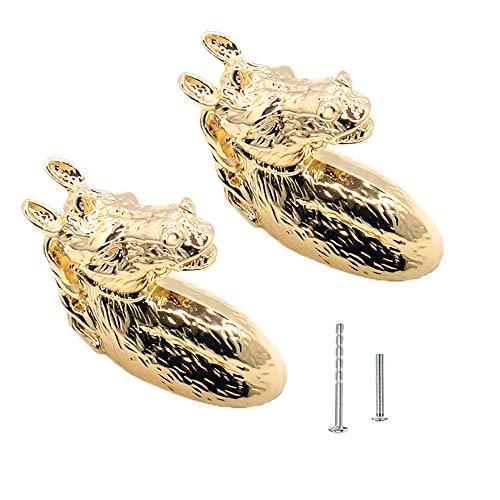 2Pcs Vintage Knobs Golden Brass Knobs Horse Head Pulls Retro Art Cabinet Handles Cupboard Knobs for Door Cabinet Drawer Cupboard with Screws (Golden)