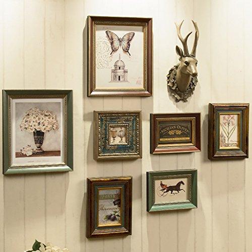 NYDZDM Ensembles de cadres de photo en bois de mur de cadre de photo vintage, 7 pièces et 1 ensemble d'ornement suspendu de cerfs