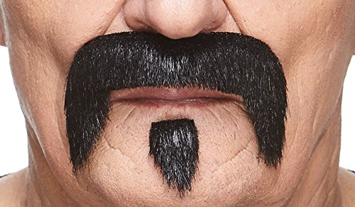 Mustaches Self Adhesive Fake Mustache, Novelty, The Zappa False Facial Hair, Costume Accessory for Adults, Black Lustrous Color